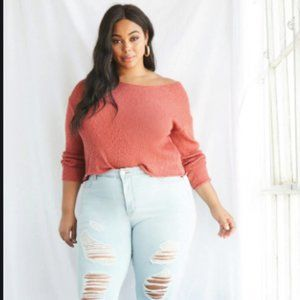 Plus Sized Open Knit Sweater